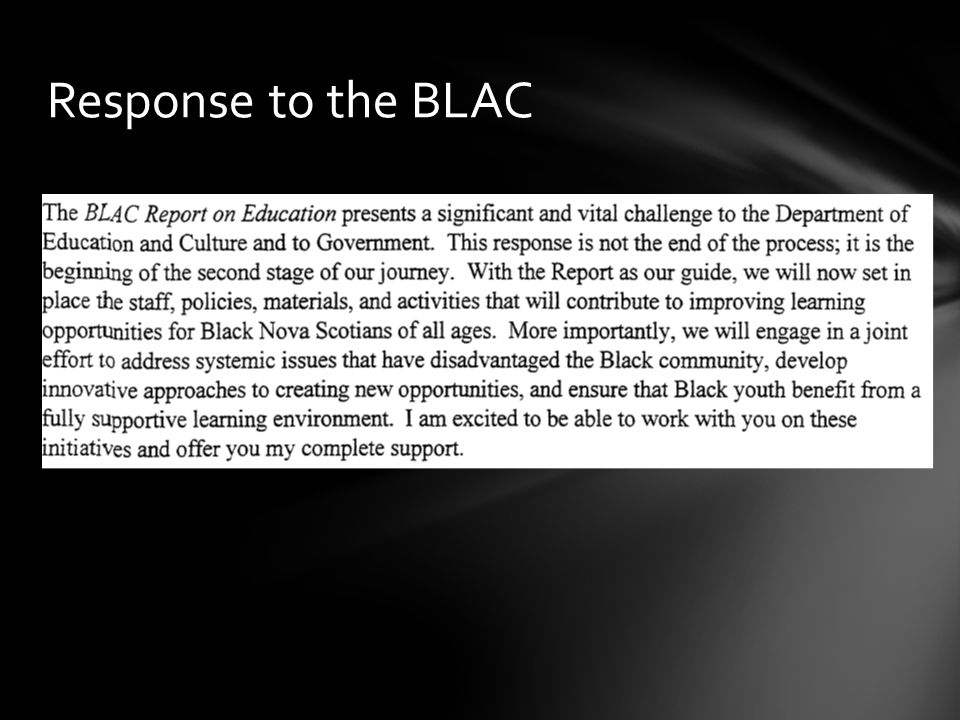 Response to the BLAC
