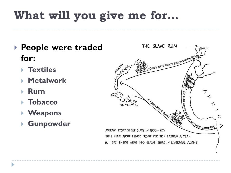 What will you give me for…  People were traded for:  Textiles  Metalwork  Rum  Tobacco  Weapons  Gunpowder
