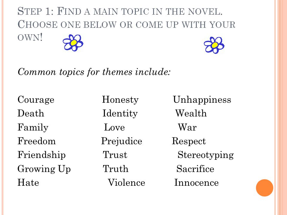 S TEP 1: F IND A MAIN TOPIC IN THE NOVEL. C HOOSE ONE BELOW OR COME UP WITH YOUR OWN .