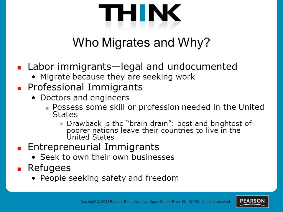 Copyright © 2011 Pearson Education, Inc., Upper Saddle River, NJ 07458. All rights reserved. Who Migrates and Why? Labor immigrants—legal and undocume