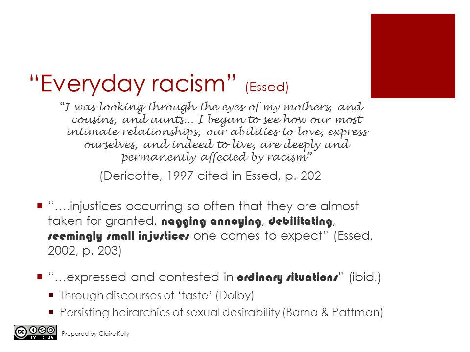 """Everyday racism"" (Essed) ""I was looking through the eyes of my mothers, and cousins, and aunts... I began to see how our most intimate relationships,"