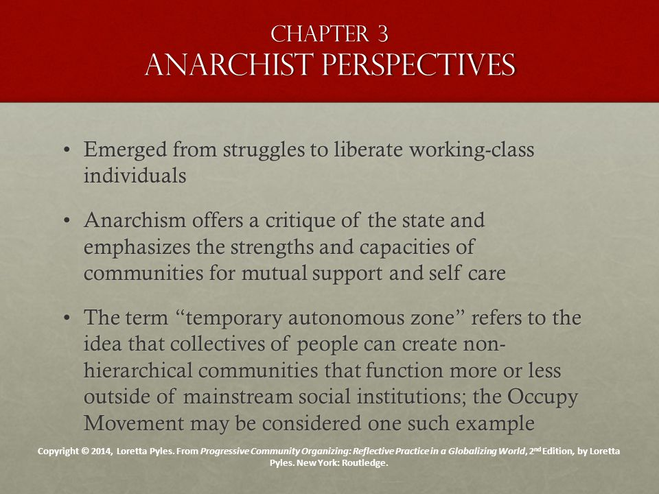 Chapter 3 anarchist perspectives Emerged from struggles to liberate working-class individualsEmerged from struggles to liberate working-class individu