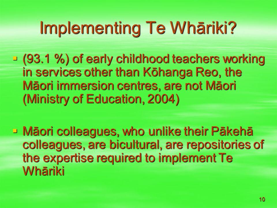 10 Implementing Te Whāriki.