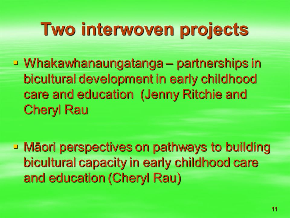 11 Two interwoven projects  Whakawhanaungatanga – partnerships in bicultural development in early childhood care and education (Jenny Ritchie and Cheryl Rau  Māori perspectives on pathways to building bicultural capacity in early childhood care and education (Cheryl Rau)