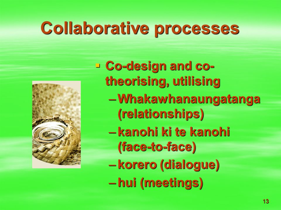 13 Collaborative processes  Co-design and co- theorising, utilising –Whakawhanaungatanga (relationships) –kanohi ki te kanohi (face-to-face) –korero (dialogue) –hui (meetings)