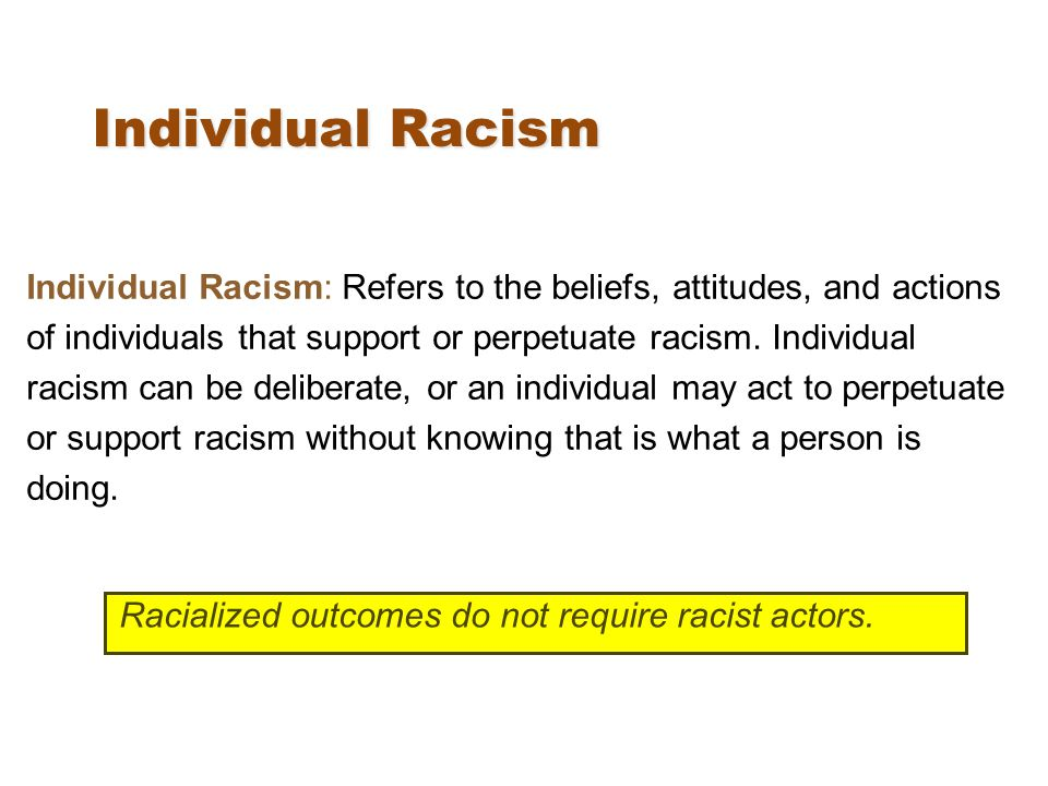 Individual Racism Individual Racism: Refers to the beliefs, attitudes, and actions of individuals that support or perpetuate racism.
