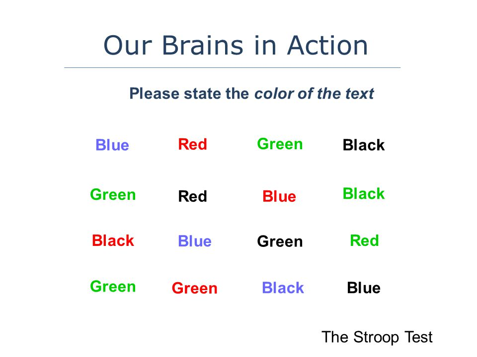 The Stroop Test Our Brains in Action Blue Green Please state the color of the text Black Red Green Blue Black Blue Black Red Green Red Black