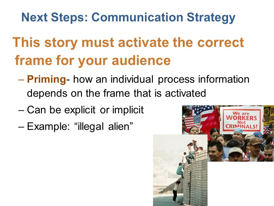 This story must activate the correct frame for your audience –Priming- how an individual process information depends on the frame that is activated –Can be explicit or implicit –Example: illegal alien Next Steps: Communication Strategy