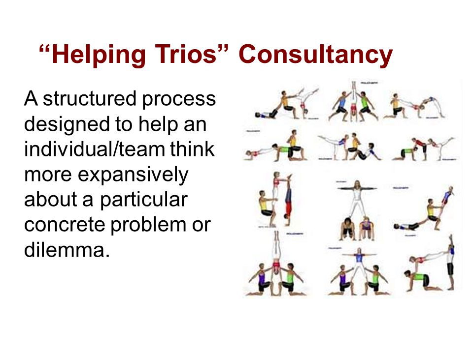 Helping Trios Consultancy A structured process designed to help an individual/team think more expansively about a particular concrete problem or dilemma.