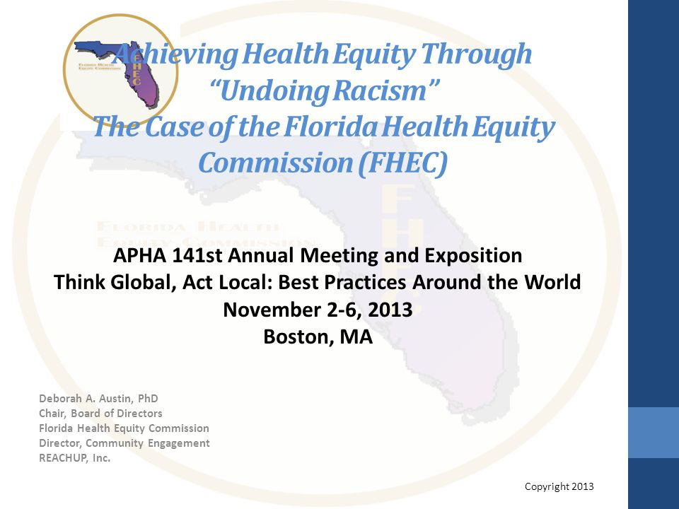 Achieving Health Equity Through Undoing Racism The Case of the Florida Health Equity Commission (FHEC) Deborah A.