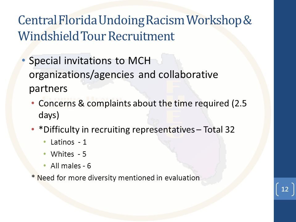 Central Florida Undoing Racism Workshop & Windshield Tour Recruitment Special invitations to MCH organizations/agencies and collaborative partners Concerns & complaints about the time required (2.5 days) *Difficulty in recruiting representatives – Total 32 Latinos - 1 Whites - 5 All males - 6 * Need for more diversity mentioned in evaluation 12