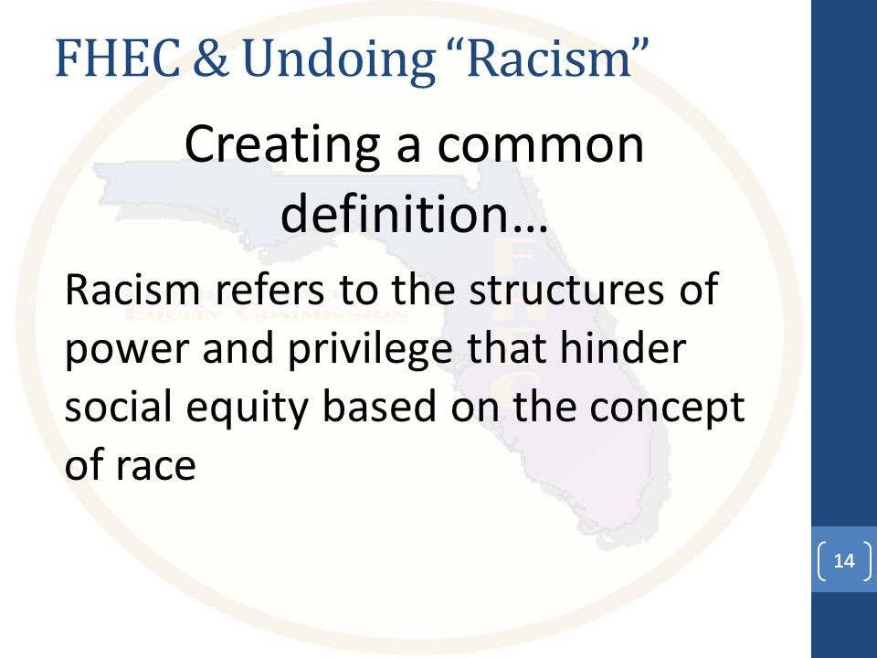 FHEC & Undoing Racism Creating a common definition… Racism refers to the structures of power and privilege that hinder social equity based on the concept of race 14