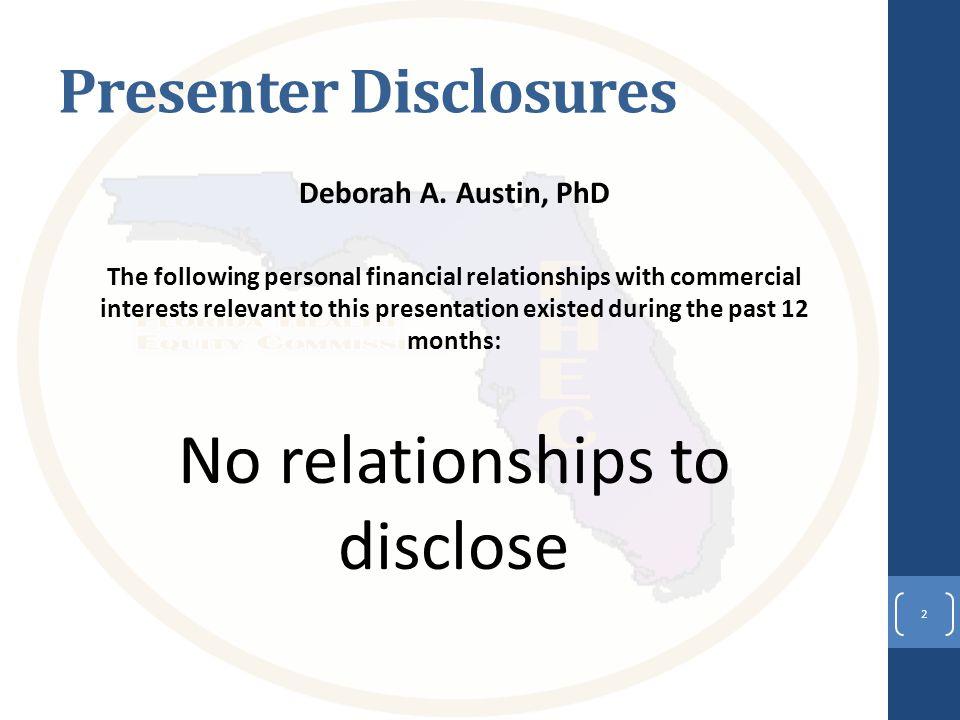 Presenter Disclosures Deborah A.