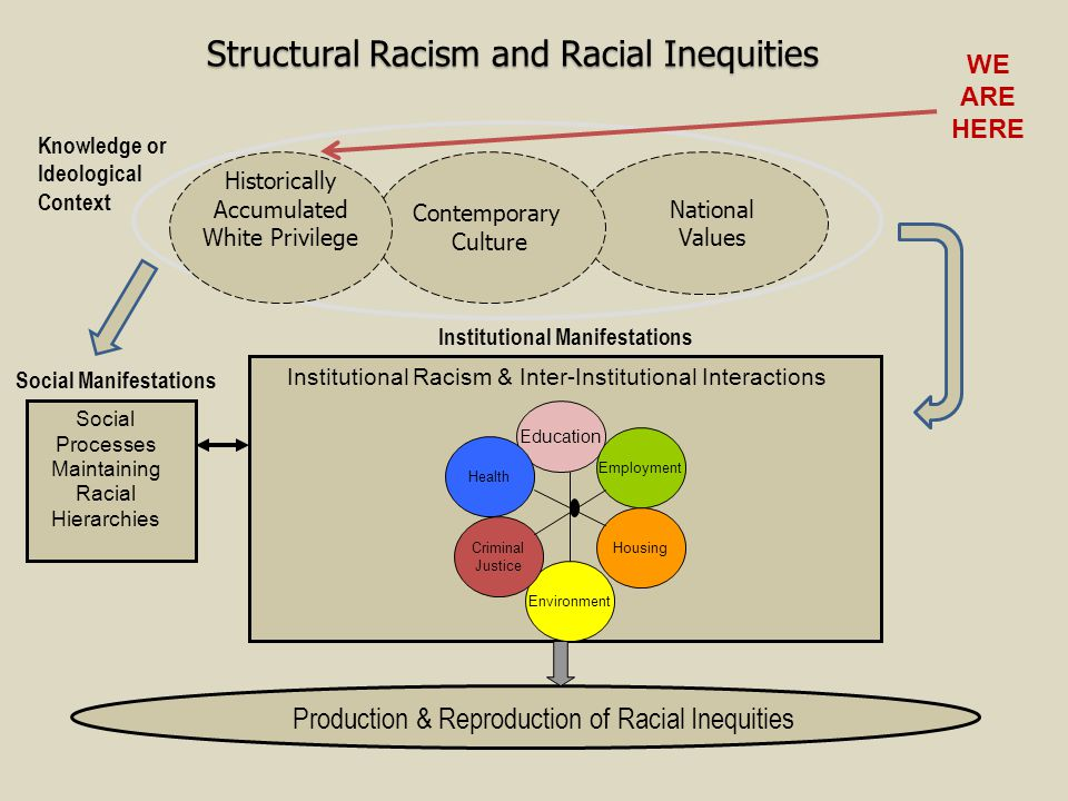 Structural Racism and Racial Inequities Contemporary Culture Historically Accumulated White Privilege National Values Social Processes Maintaining Rac
