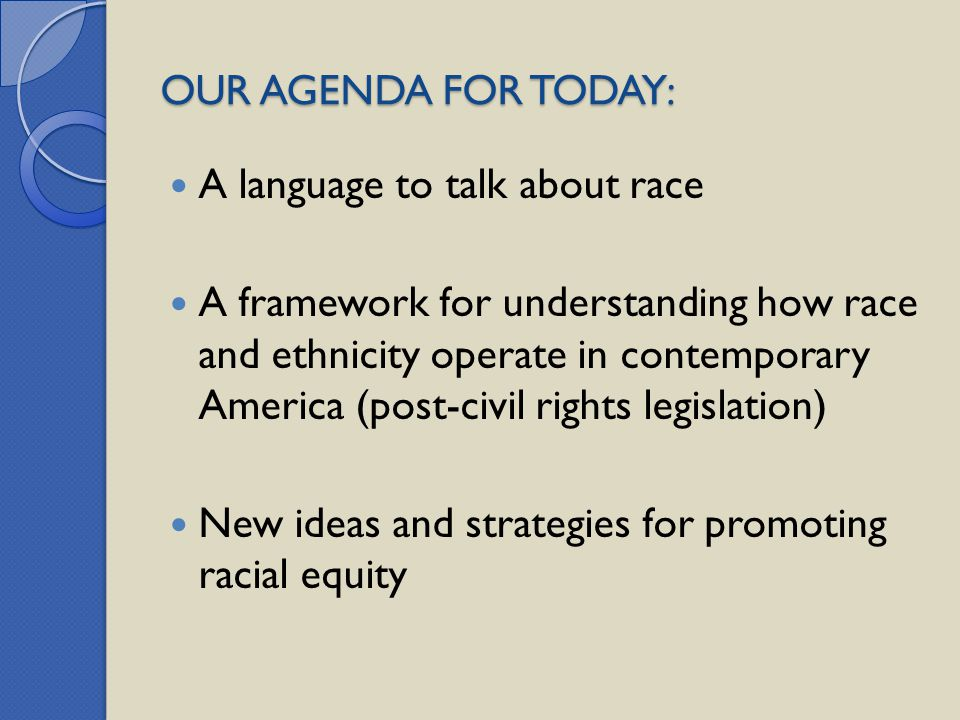 OUR AGENDA FOR TODAY: A language to talk about race A framework for understanding how race and ethnicity operate in contemporary America (post-civil r