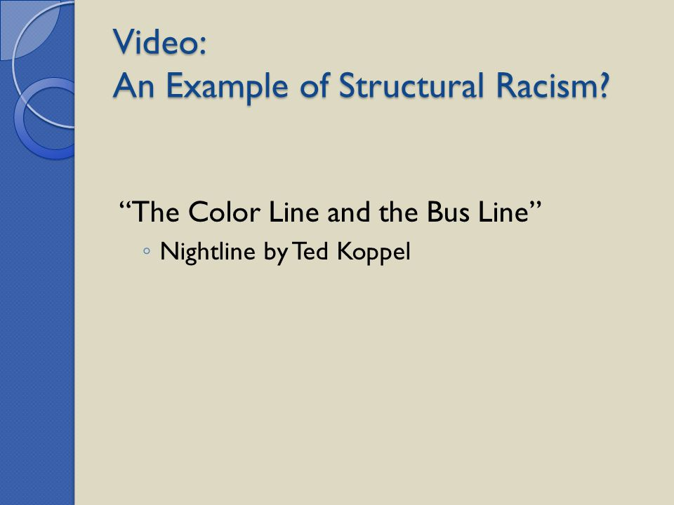 "Video: An Example of Structural Racism? ""The Color Line and the Bus Line"" ◦ Nightline by Ted Koppel"