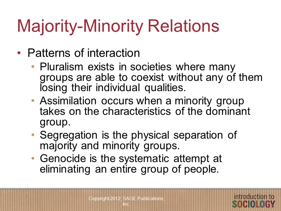 Majority-Minority Relations Patterns of interaction Pluralism exists in societies where many groups are able to coexist without any of them losing their individual qualities.