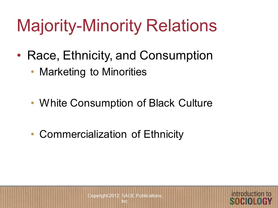Majority-Minority Relations Race, Ethnicity, and Consumption Marketing to Minorities White Consumption of Black Culture Commercialization of Ethnicity Copyright 2012, SAGE Publications, Inc.