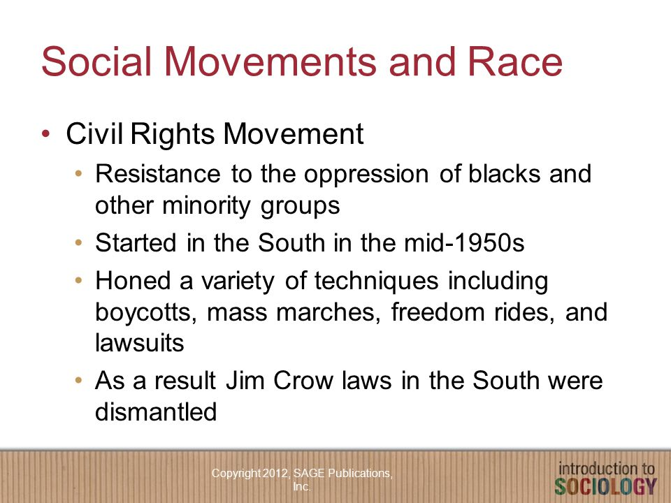 Social Movements and Race Civil Rights Movement Resistance to the oppression of blacks and other minority groups Started in the South in the mid-1950s Honed a variety of techniques including boycotts, mass marches, freedom rides, and lawsuits As a result Jim Crow laws in the South were dismantled Copyright 2012, SAGE Publications, Inc.