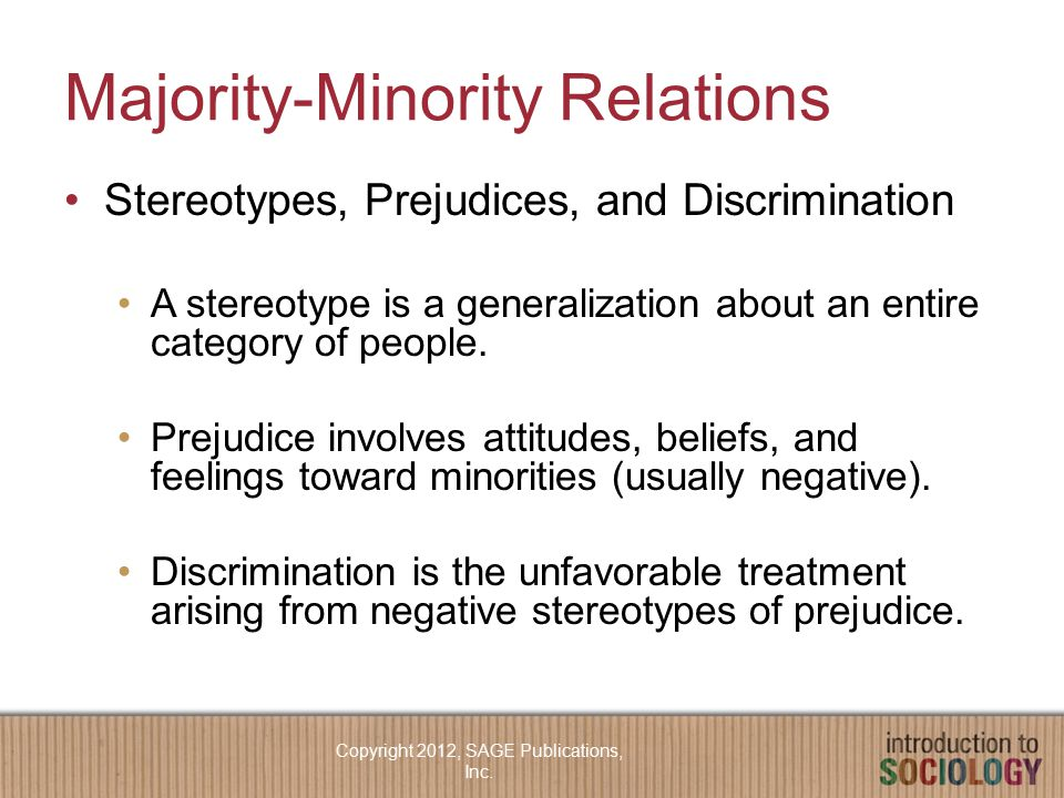 Majority-Minority Relations Stereotypes, Prejudices, and Discrimination A stereotype is a generalization about an entire category of people.