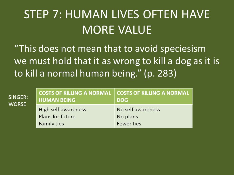 STEP 7: HUMAN LIVES OFTEN HAVE MORE VALUE This does not mean that to avoid speciesism we must hold that it as wrong to kill a dog as it is to kill a normal human being. (p.