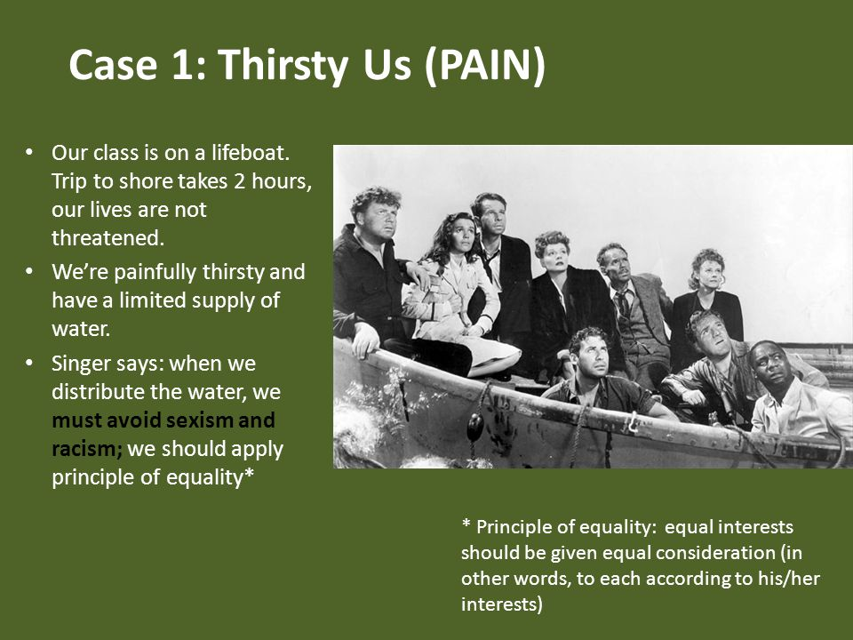 Case 1: Thirsty Us (PAIN) Our class is on a lifeboat.