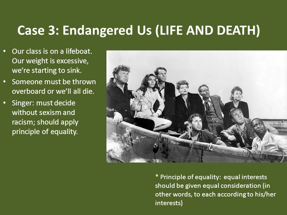 Case 3: Endangered Us (LIFE AND DEATH) Our class is on a lifeboat.