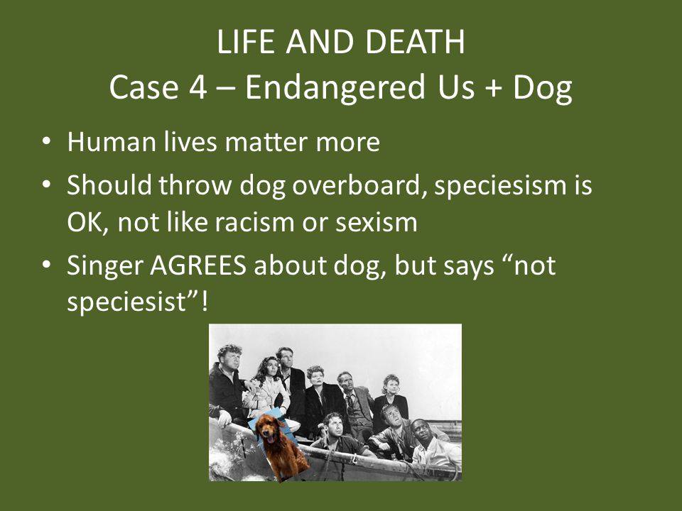 LIFE AND DEATH Case 4 – Endangered Us + Dog Human lives matter more Should throw dog overboard, speciesism is OK, not like racism or sexism Singer AGREES about dog, but says not speciesist !
