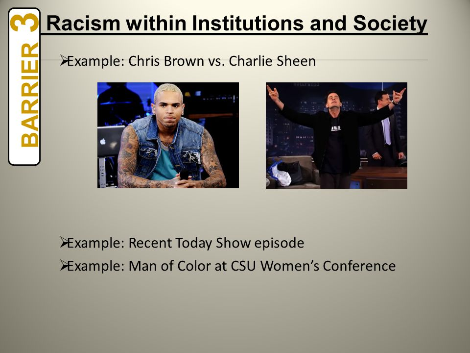  Example: Chris Brown vs. Charlie Sheen  Example: Recent Today Show episode  Example: Man of Color at CSU Women's Conference BARRIER 3