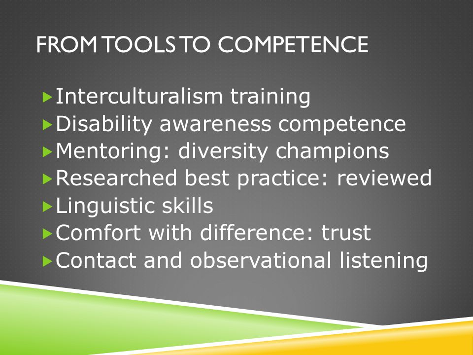 FROM TOOLS TO COMPETENCE  Interculturalism training  Disability awareness competence  Mentoring: diversity champions  Researched best practice: re