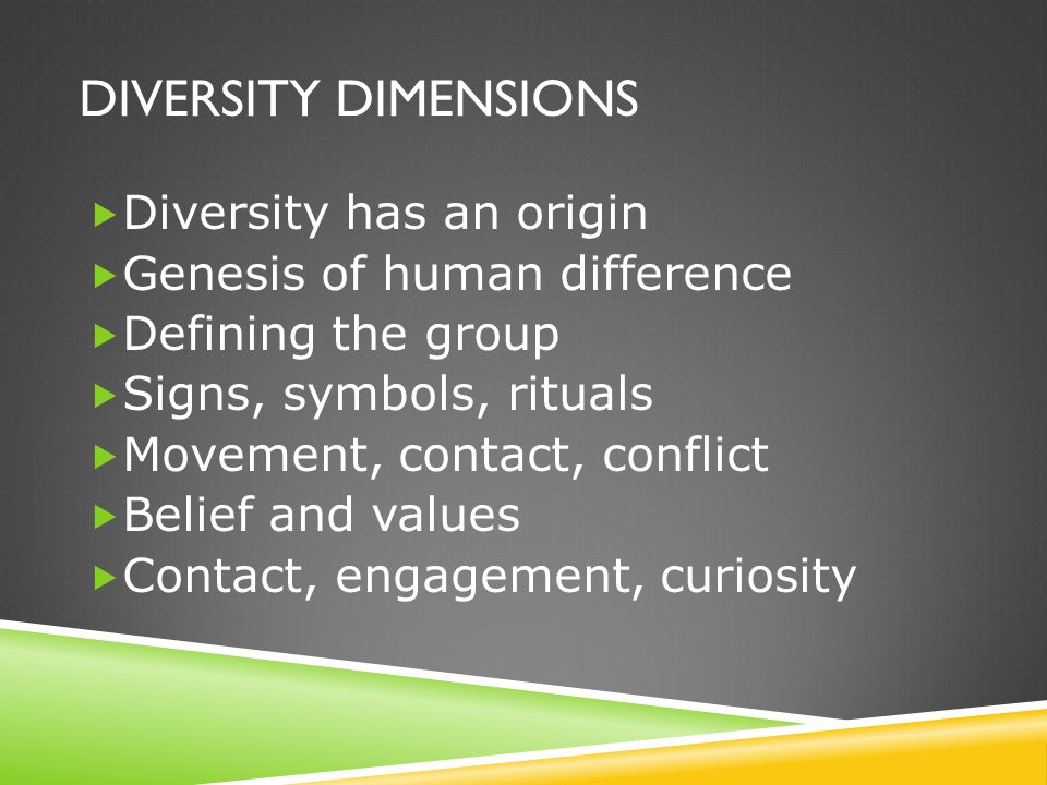 DIVERSITY DIMENSIONS  Diversity has an origin  Genesis of human difference  Defining the group  Signs, symbols, rituals  Movement, contact, confl