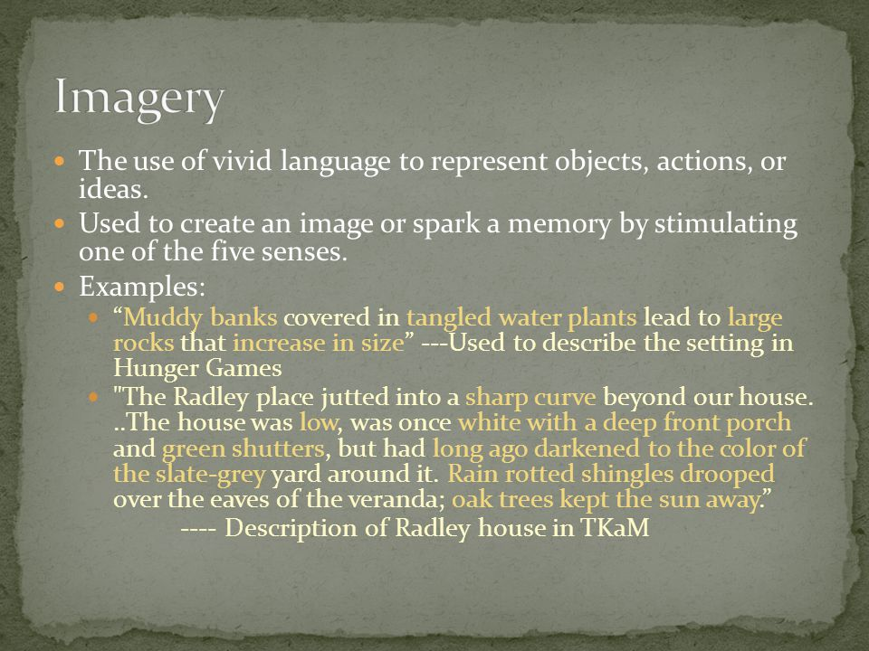 The use of vivid language to represent objects, actions, or ideas.
