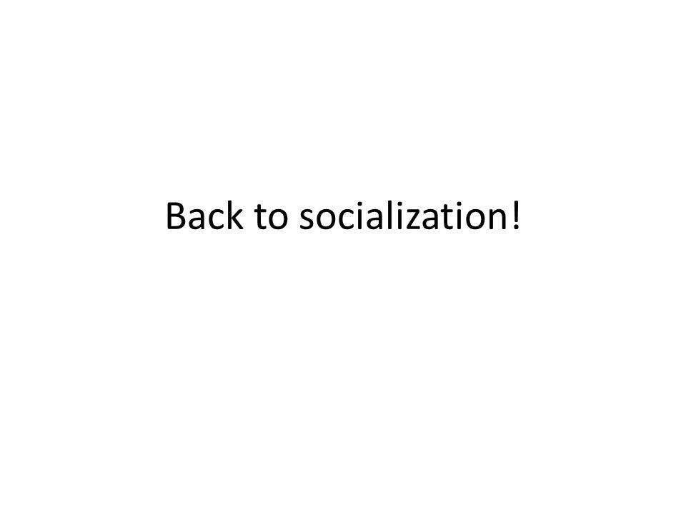 Back to socialization!