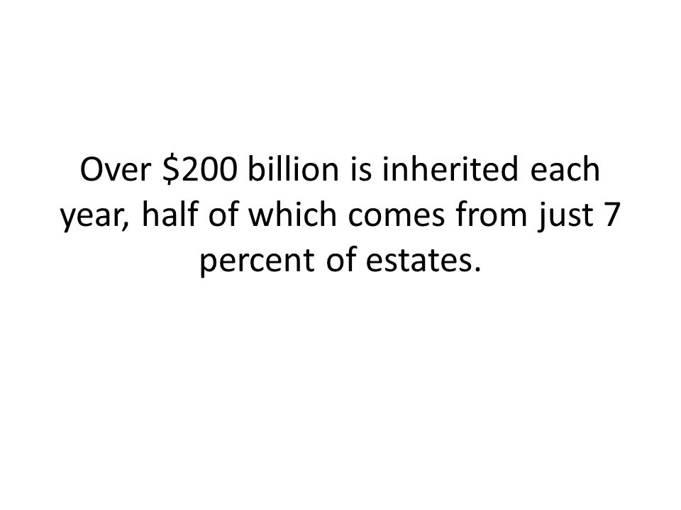 Over $200 billion is inherited each year, half of which comes from just 7 percent of estates.