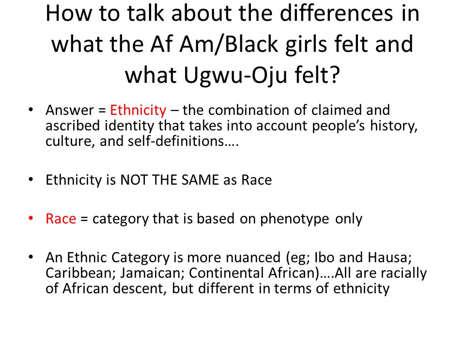 How to talk about the differences in what the Af Am/Black girls felt and what Ugwu-Oju felt.