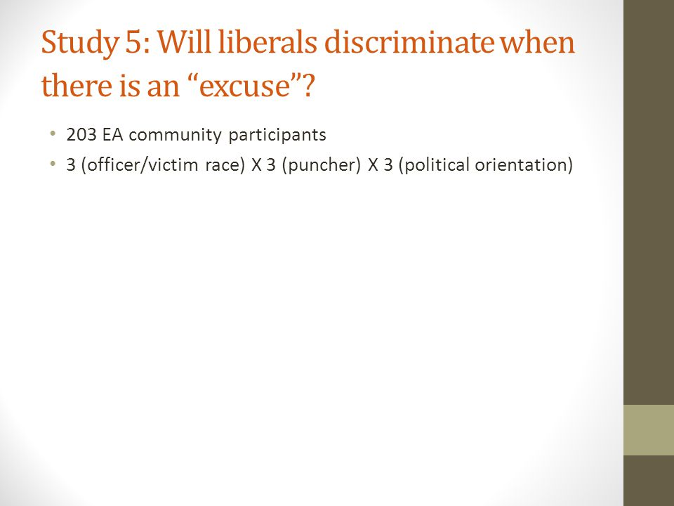 Study 5: Will liberals discriminate when there is an excuse .