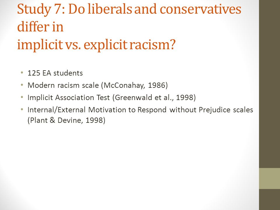 Study 7: Do liberals and conservatives differ in implicit vs.