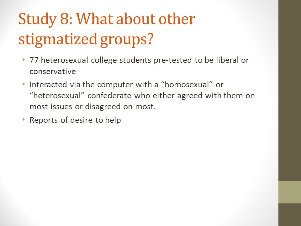Study 8: What about other stigmatized groups.
