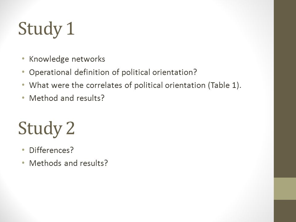 Study 1 Knowledge networks Operational definition of political orientation.