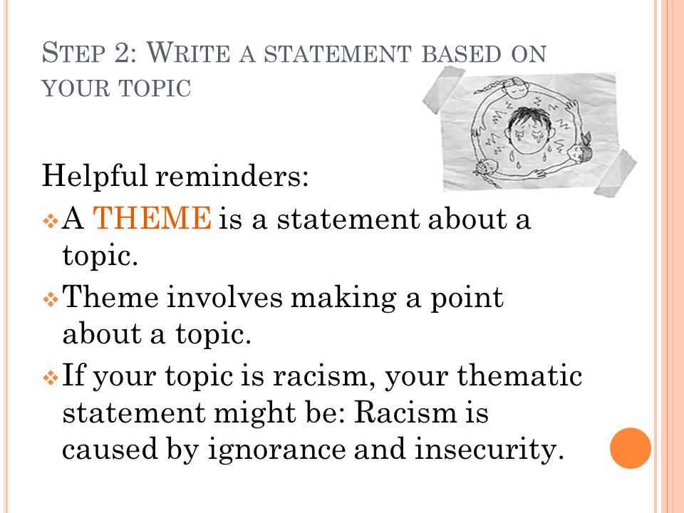 S TEP 2: CONTINUED SAMPLE Topic: Racism Thematic Statement: Racism is caused by ignorance and insecurity On your own sheet of paper, first put your Name, Date and Class Period THE ASSIGNMENT: 1.