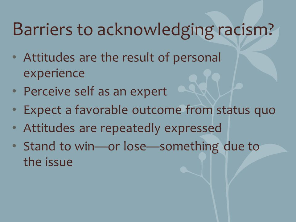B arriers to acknowledging racism? Attitudes are the result of personal experience Perceive self as an expert Expect a favorable outcome from status q