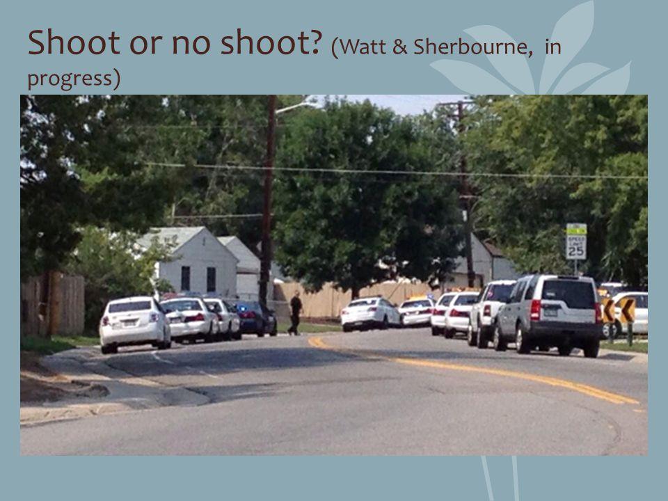 Shoot or no shoot? (Watt & Sherbourne, in progress)