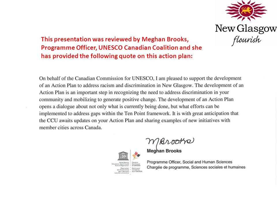 This presentation was reviewed by Meghan Brooks, Programme Officer, UNESCO Canadian Coalition and she has provided the following quote on this action plan: