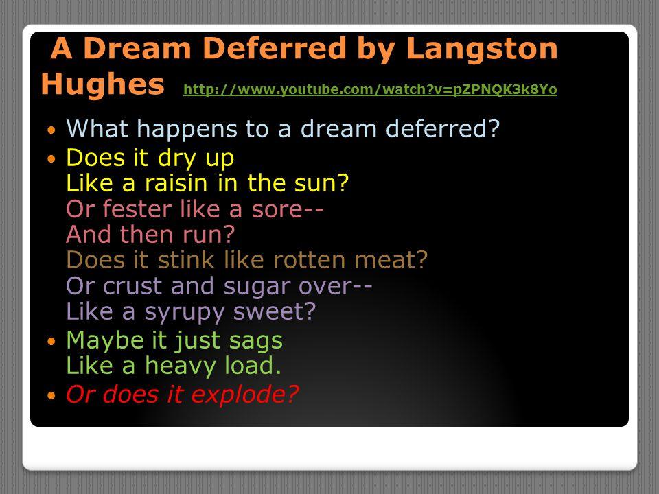 A Dream Deferred by Langston Hughes http://www.youtube.com/watch?v=pZPNQK3k8Yo A Dream Deferred by Langston Hughes http://www.youtube.com/watch?v=pZPN