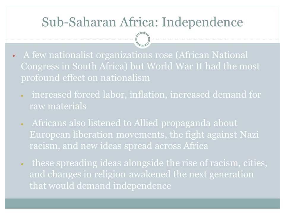 Most of sub-Saharan African independence movements were achieved through negotiations, but those with a significant white settler minority had to resort to armed struggles Ghana won independence from Britain through an election This led to Britain granting independence to its other West African colonies, including Nigeria.
