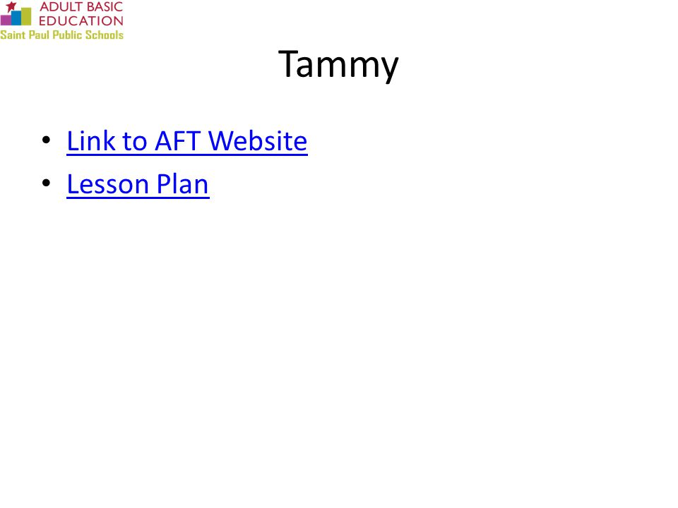 Tammy Link to AFT Website Lesson Plan