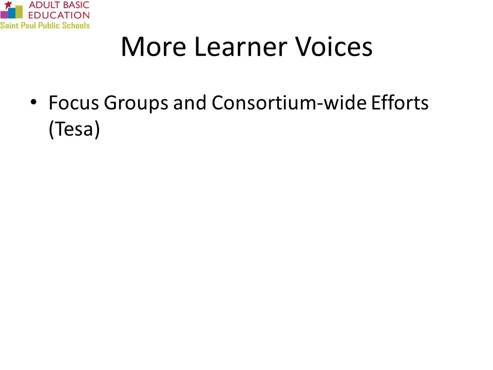 More Learner Voices Focus Groups and Consortium-wide Efforts (Tesa)