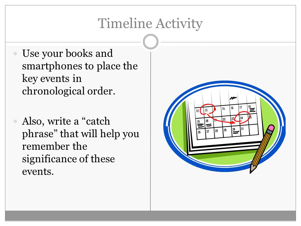 Timeline Activity Use your books and smartphones to place the key events in chronological order.