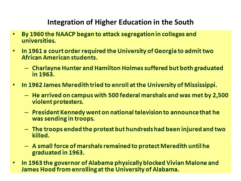 Meredith and Ole' Miss In 1962, James Meredith s attempt to desegregate the all- white University of Mississippi provoked such violence by white supremacists that some observers feared mass civil conflict in the Deep South.
