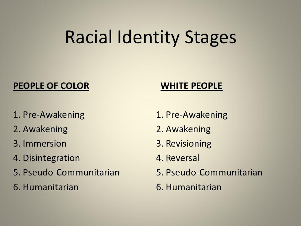 Racial Identity Stages PEOPLE OF COLOR 1. Pre-Awakening 2. Awakening 3. Immersion 4. Disintegration 5. Pseudo-Communitarian 6. Humanitarian WHITE PEOP